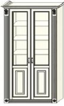 Шкаф-витрина двухдверный Ферсия с двумя пилястрами, два отделения, верхние полки стекло (модуль 28)