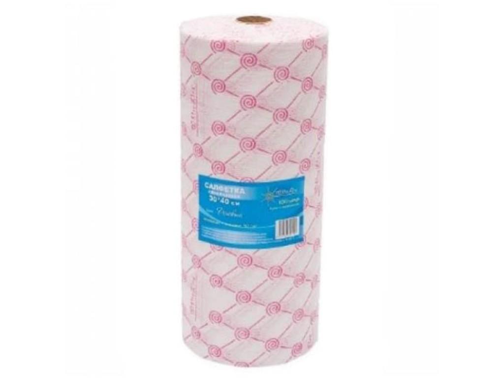 Салфетка одноразовая 30*40 спанлейс розовый White line №100шт рол