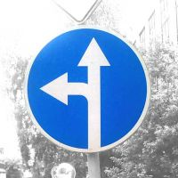 Дорожный знак 4.1.5 Движение прямо или налево.