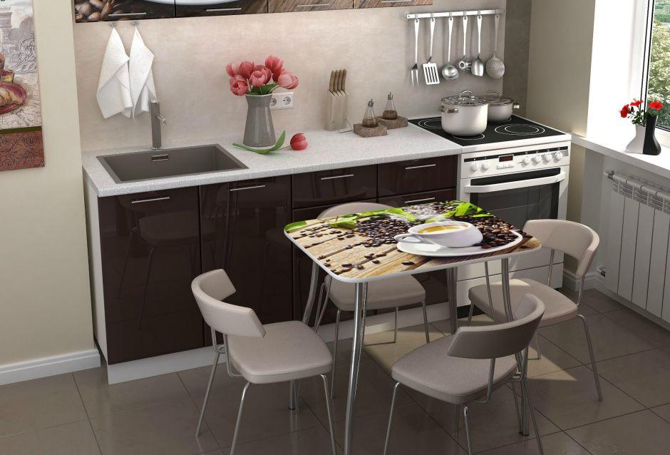 Кухонный стол с фотопечатью Кофе
