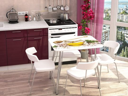 Кухонный стол с фотопечатью Мёд