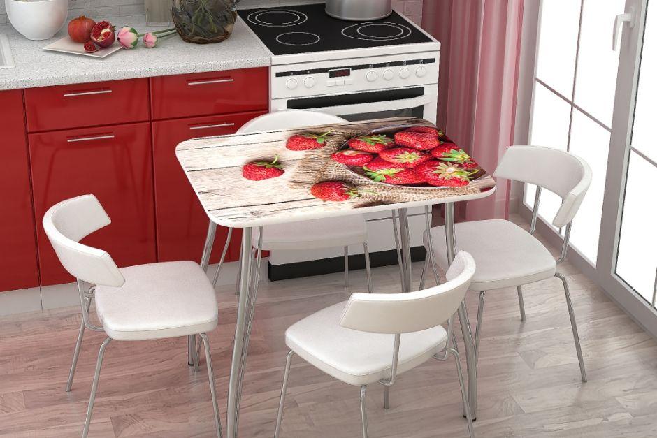 Кухонный стол с фотопечатью Клубника