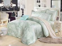 Комплект постельного белья Сатин-жаккард  Donna Primavera  (св.олива)  евро Арт.595/3