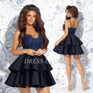 Темно-синее коктейльное платье с юбкой из неопрена