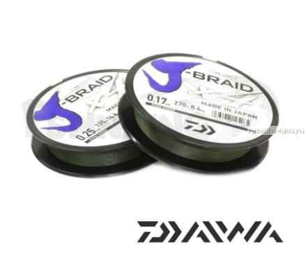 Купить Шнур плетеный Daiwa J-Braid PE X4 270м /цвет: dark green