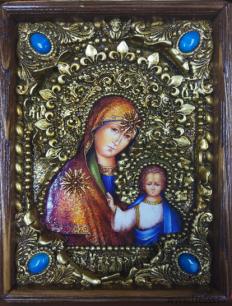 Икона Божьей Матери Казанская 14 х 19 см в киоте, роспись по дереву, самоцветы