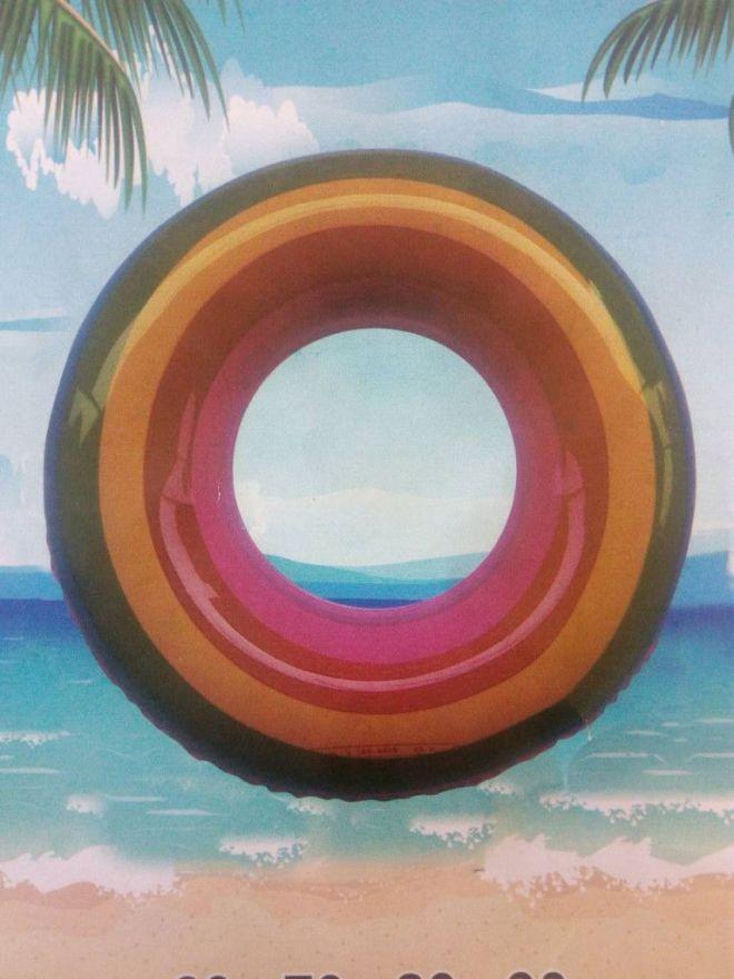 Радужный надувной спасательный круг (70 см)