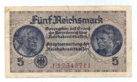 5 рейхсмарок 1939-1945 г. Германия для оккупированных территорий
