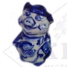 Сувенир Гжель Символ Года 2019 ОПТОМ - Три поросенка (3 вида) 5,5x4,5x4,5 см