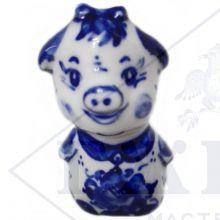 Сувенир Гжель Символ Года 2019 ОПТОМ - Свинка Малышка Пепа 5x3,5x3 см