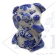 Сувенир Гжель Символ Года 2019 ОПТОМ - Хрюшка 7x3,5x4,5 см