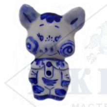 Сувенир Гжель Символ Года 2019 ОПТОМ - Хрюша средний 7,5x5x4 см