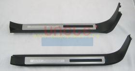 """Накладки на пороги с подсветкой Юбилейня версия """"Черные"""" (Тип 7) для Toyota Land Cruiser 200"""