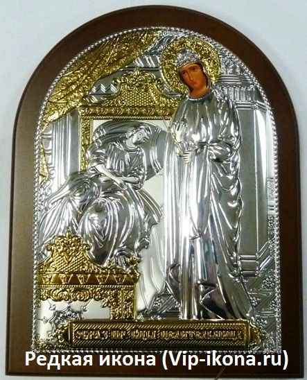 Серебряная с золочением икона Богородицы Целительницы (листовое серебро, 12*16см., Россия)