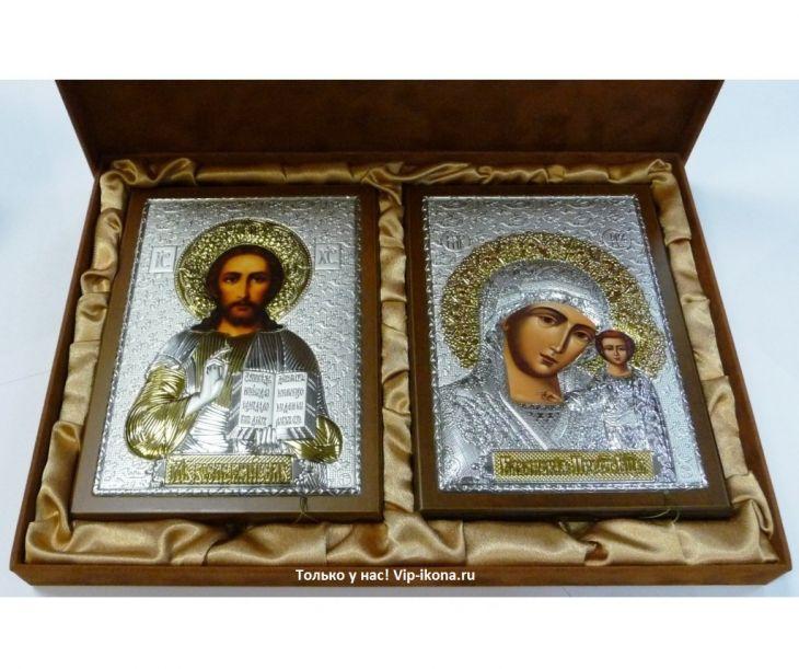 Подарочный набор (венчальная пара) Христа и Божьей Матери (15*21см., красное дерево, Россия) в VIP-упаковке