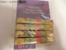 Recollections Wooden Clips ~ Yellow Floral