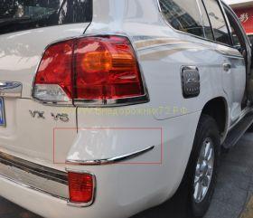 Хромированные молдинги на задний бампер для Toyota Land Cruiser 200