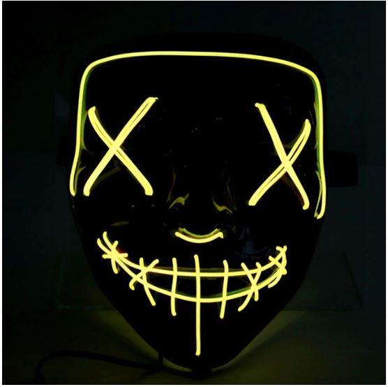 Неоновая маска Судная ночь, цвет желтый