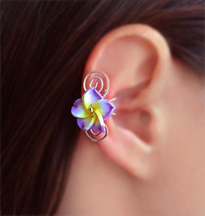 """Кафф """"Гавайский цветок"""" фиолетовый"""