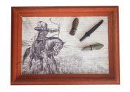 Древние наконечники стрел. оформленные на холсте, в деревянной раме