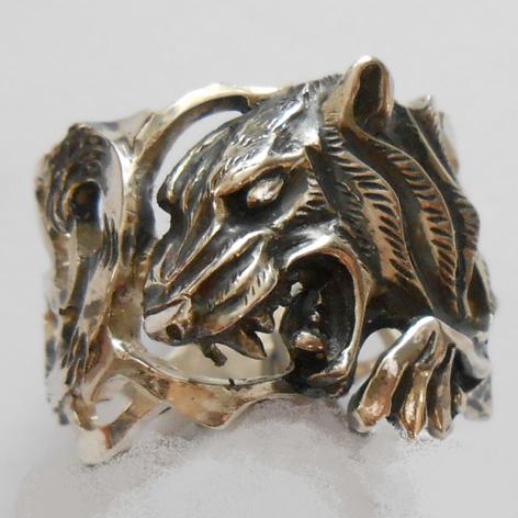 """Кольцо  """"Тигр"""" латунь и покрытие под серебро"""
