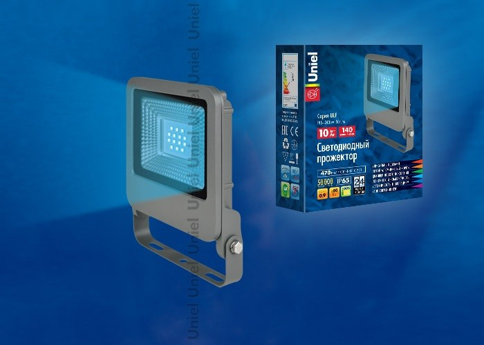 ULF-F17-10W/BLUE IP65 195-240В SILVER Прожектор светодиодный. Синий свет. Корпус серебристый. TM Uni