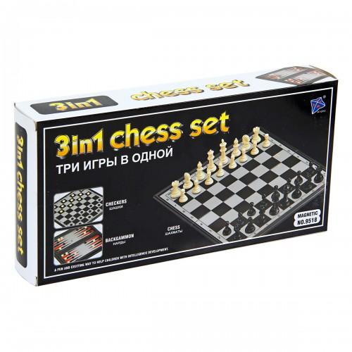 Настольная магнитная игра 3 в 1 шахматы шашки нарды