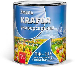 """ЭМАЛЬ ПФ-115 ЧЕРНАЯ  0,8 КГ (14) """"KRAFOR"""""""
