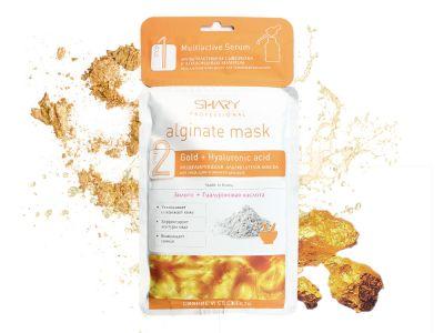 Профессиональная альгинатная маска с сывороткой (с коллоидным золотом) Shary СИЯНИЕ И СВЕЖЕСТЬ с золотом и гиалуроновой кислотой, 28гр+2гр