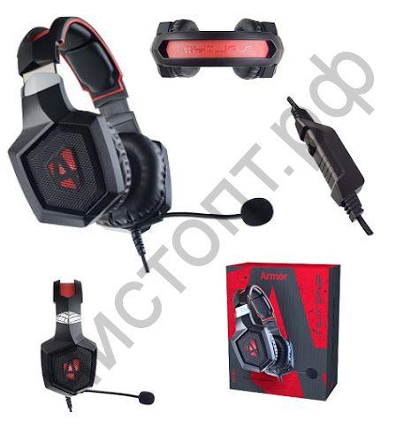 Гарнитура (науш.+микр.) Perfeo ARMOR черная с красным 2,2 м, разъем 3,5 мм (4 pin) и USB (LED), переходник игровая ( в комп + телеф )