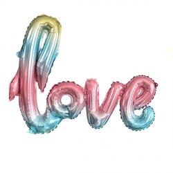 Слово Love радужный шар фольгированный с воздухом