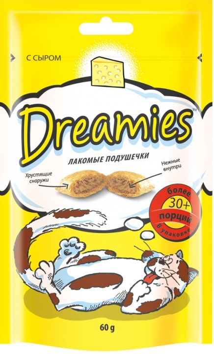 Dreamies 60г лакомые подушечки с сыром