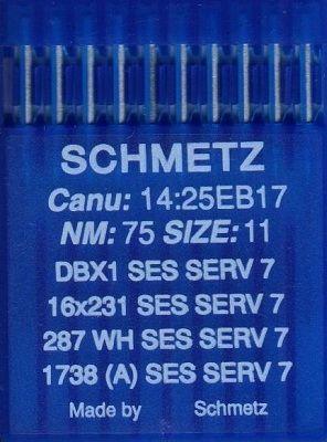 Иглы промышленные для трикотажа Schmetz DBx1 SES SERV7 №75 10 шт