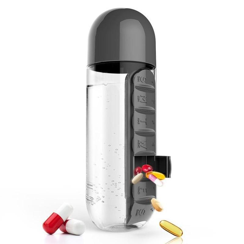 Бутылка С Органайзером Для Таблеток Pill & Vitamin Organizer, Цвет Черный