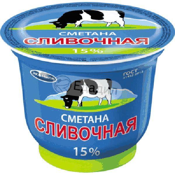 Сметана Сливочная 15% 200г Экомилк