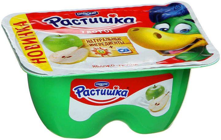 Творог Растишка обогащенный кальцием 3,5% яблоко/груша 100г Данон Индустрия