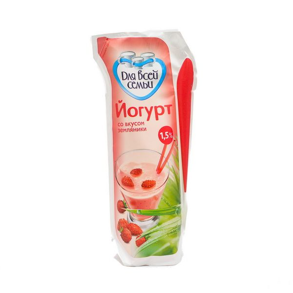 Йогурт Для всей семьи земляника 1,5% 450мл. Юнимилк