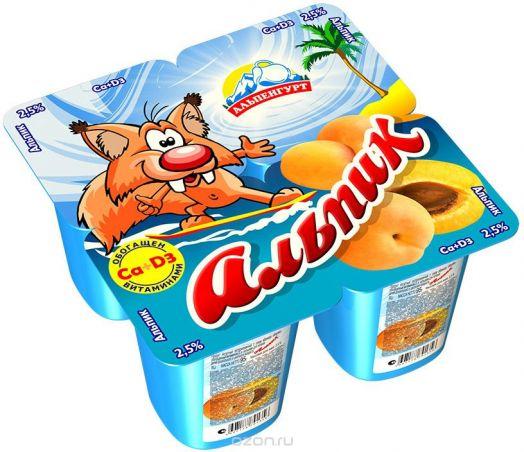 Продукт йогуртный Альпик пастерил. 2,5% абрикос 95г Эрманн