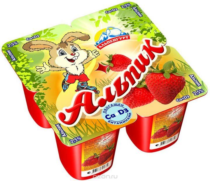 Продукт йогуртный Альпик пастерил. 2,5% клубника 95г Эрманн