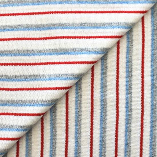Лоскут трикотажной ткани Красно-голубая полоска