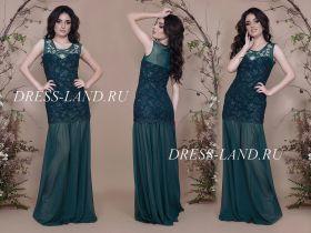 Зеленое облегающее вечернее платье