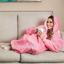 Толстовка-плед с капюшоном Huggle Hoodie, цвет розовый