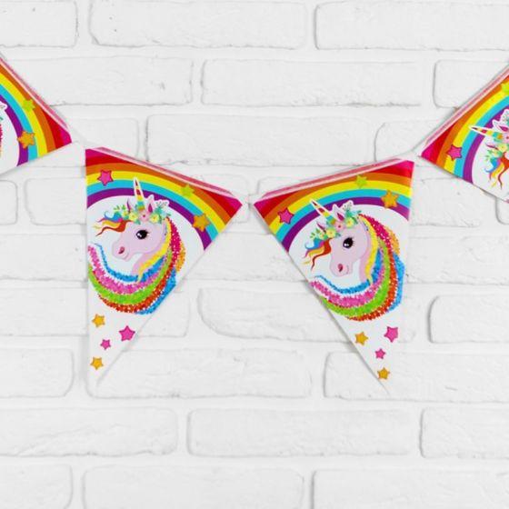 Гирлянда «Радужный единорог», 10 флажков
