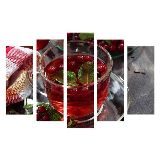 Модульная картина Чай с красной смородиной