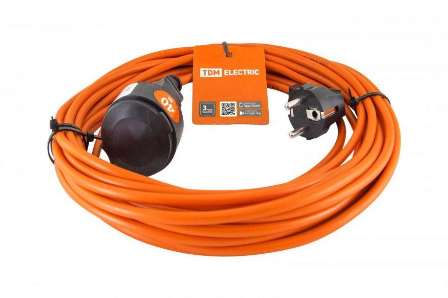 Сетевой удлинитель TDM Удлинитель-шнур силовой УШ10 (штепс. гнездо, 40м ПВС 2х1,0) SQ1301-0608