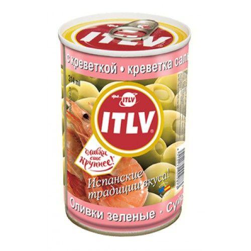 Оливки ITLV зеленые с креветками ж/б, 314мл. Испания
