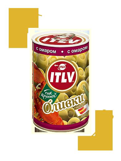 Оливки ITLV зеленые с омаром ж/б, 300г Испания