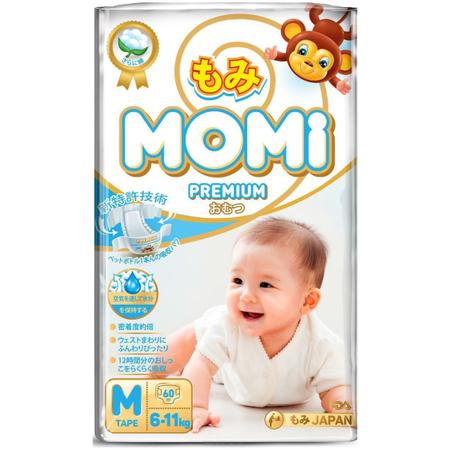 Подгузники Momi Premium 6-11 кг (М) 60 шт.