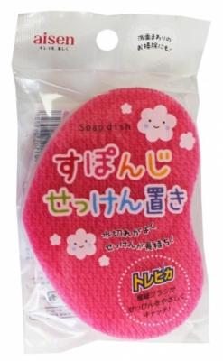 Губка мыльница для чистки раковин с подставкой (розовая)