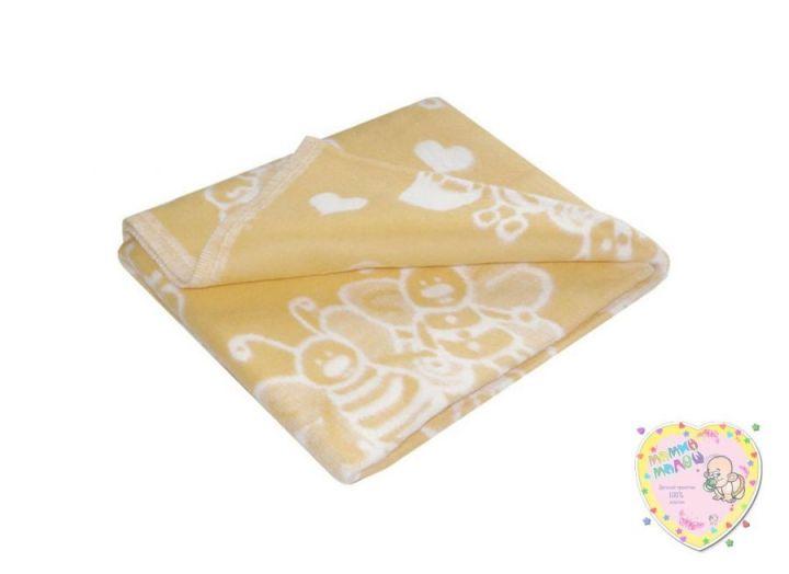 Одеяло детское байковое 118х110 (бежевый пчелки)